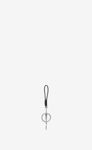 SAINT LAURENT Key Chains Man rider ysl key ring in black leather b_V4