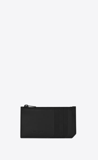 SAINT LAURENT Saint Laurent Paris SLG Man fragments zip pouch in black leather and black shiny trim a_V4