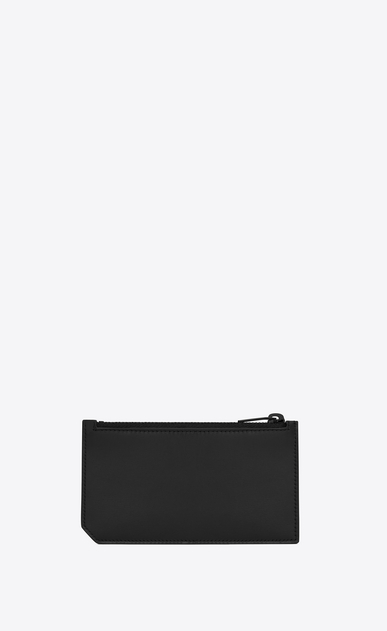 SAINT LAURENT Saint Laurent Paris SLG Man fragments zip pouch in black leather and black shiny trim b_V4