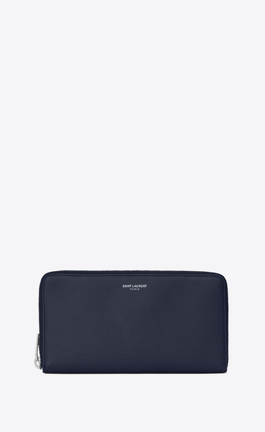 saint laurent paris zip around wallet in navy blue textured leather