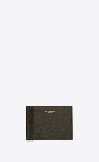 SAINT LAURENT Saint Laurent Paris SLG Man saint laurent bill clip wallet in army green textured leather  a_V4