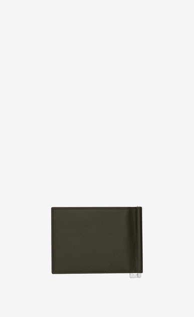 SAINT LAURENT Saint Laurent Paris SLG Man saint laurent bill clip wallet in army green textured leather  b_V4