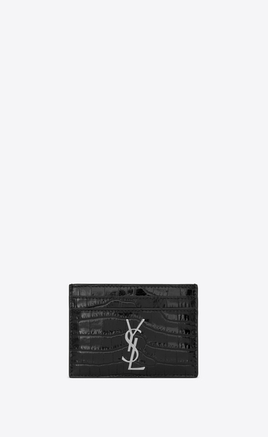 SAINT LAURENT Monogram Donna porta carte nero in coccodrillo stampato a_V4