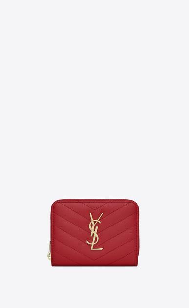 SAINT LAURENT Monogram Matelassé Woman compact zip around wallet in red textured matelassé leather a_V4