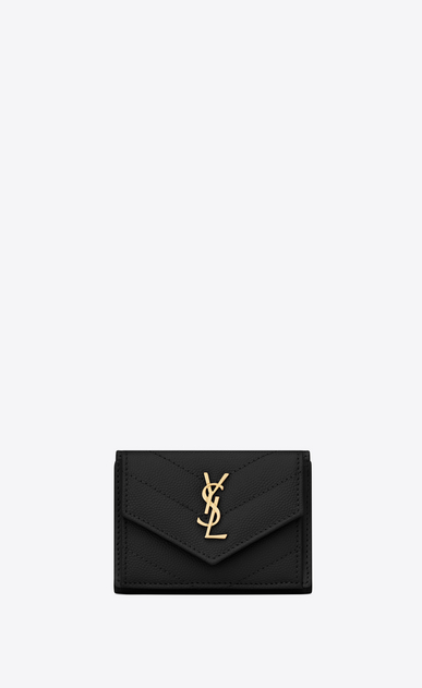 SAINT LAURENT Monogram Matelassé Woman petite wallet in black textured quilted leather a_V4