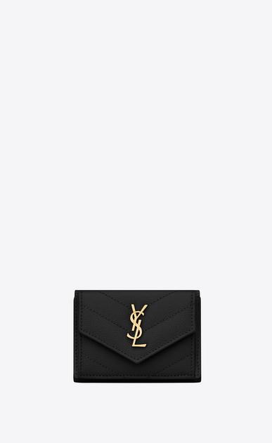 monogramme portafogli petite in pelle a texture trapuntata nero