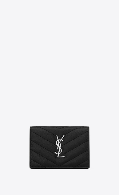SAINT LAURENT Monogram SLG Donna monogram Card case in grain de poudre embossed leather a_V4