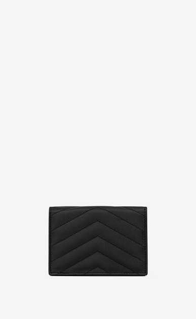 SAINT LAURENT Monogram SLG Donna monogram Card case in grain de poudre embossed leather b_V4