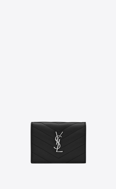 SAINT LAURENT Monogram SLG Woman monogram Card case in grain de poudre embossed leather a_V4