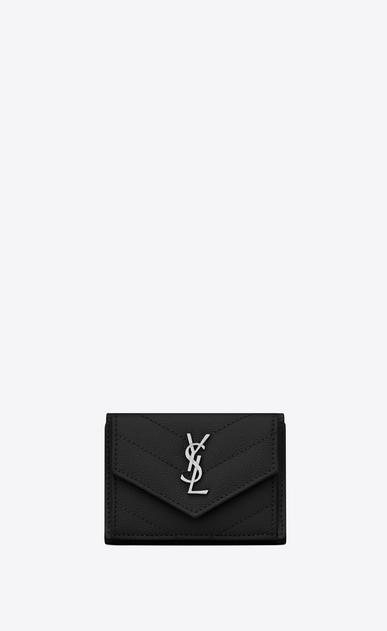 SAINT LAURENT Monogram Matelassé Woman tiny wallet in grain de poudre embossed leather a_V4