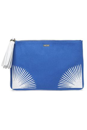 MELISSA ODABASH Tasseled embroidered canvas pouch