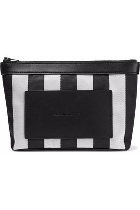 ALEXANDER WANG Leather-paneled striped woven cosmetics case