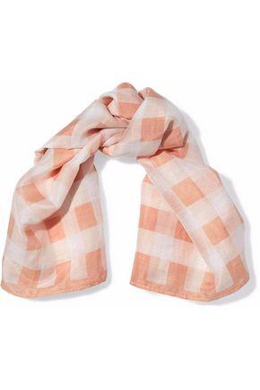 RAG & BONE Gingham cotton and silk-blend scarf