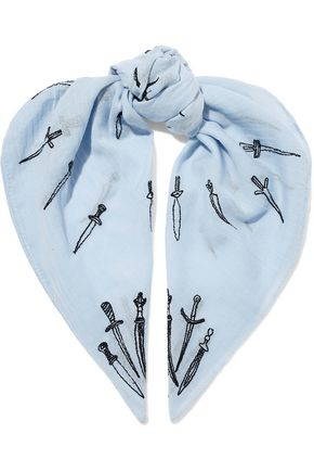 RAG & BONE Embroidered cotton-gauze scarf