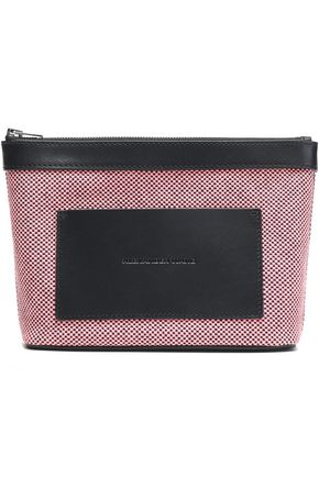 ALEXANDER WANG Leather-trimmed woven cosmetics case