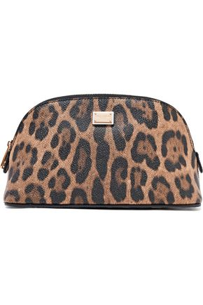 DOLCE & GABBANA Leopard-print textured-leather cosmetics case