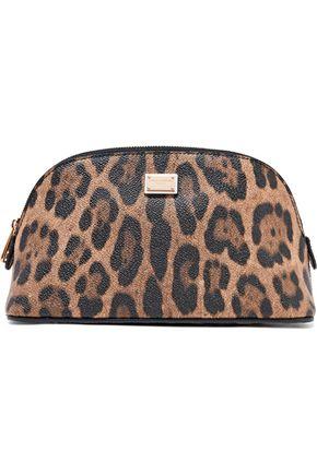 DOLCE & GABBANA Leopard-print textured-leather cosmetics case