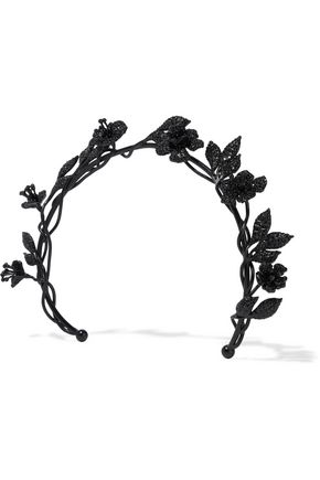 VALENTINO Crystal-embellished oxidized metal headband