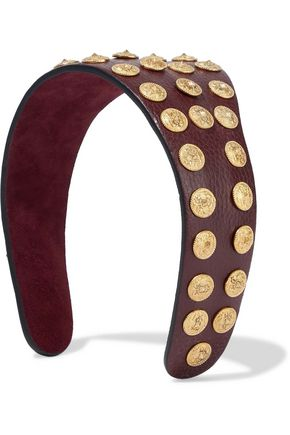 VALENTINO Studded textured-leather headband