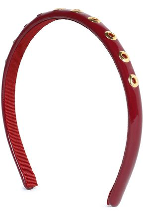 REDValentino Eyelet-embellished patent-leather headband