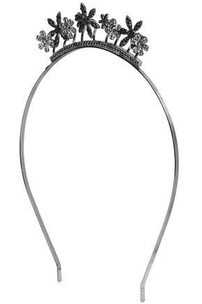 RED(V) Floral-appliquéd crystal-embellished gunmetal-tone headband