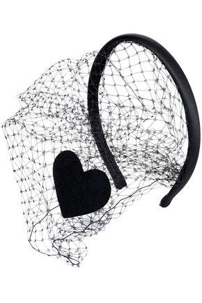 REDValentino Embellished mesh and leather headband