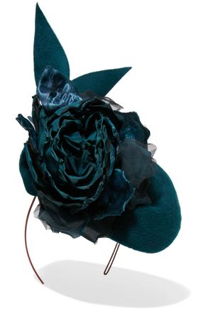 PHILIP TREACY Floral-appliquéd wool-felt headpiece