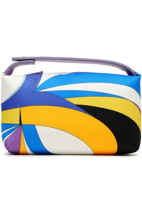 EMILIO PUCCI Leather-trimmed printed satin cosmetics case