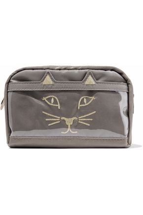 CHARLOTTE OLYMPIA Purrrfect embroidered shell and PVC cosmetics case