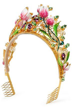 DOLCE & GABBANA Embellished gold-tone crystal headband