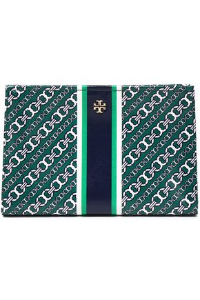 TORY BURCH Printed cotton-twill cosmetics case