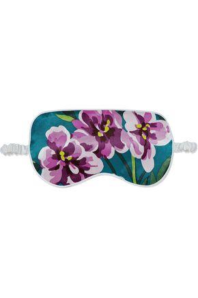 OLIVIA VON HALLE Barbara floral-print silk-satin eye mask