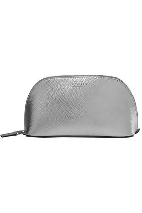 SMYTHSON Panama metallic textured-leather cosmetics case