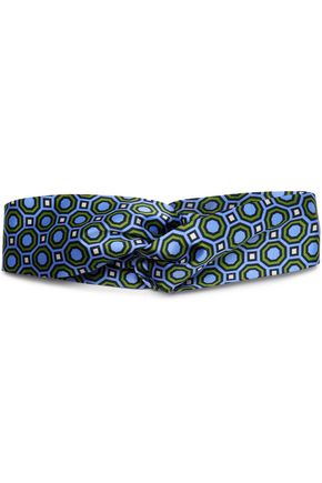 TORY BURCH Twist-front printed silk-satin headband