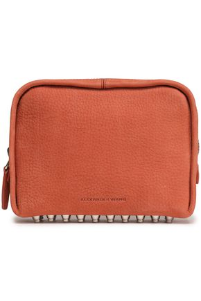 ALEXANDER WANG Studded textured-suede pouch