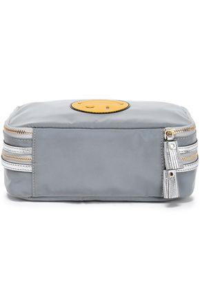 ANYA HINDMARCH Wink Jewellery metallic leather-trimmed reflective shell case