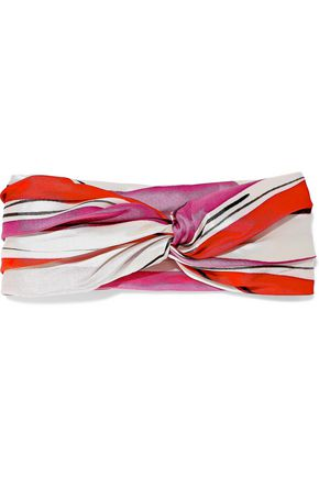 EUGENIA KIM Malia twisted striped satin-twill headband