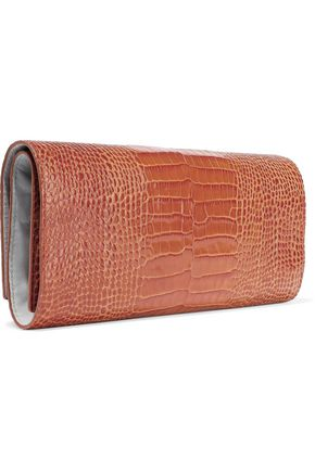 Smythson Woman Mara Croc-Effect Leather Jewelry Roll Tan