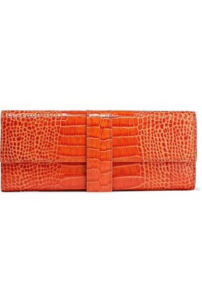 SMYTHSON Mara small croc-effect leather jewelry roll