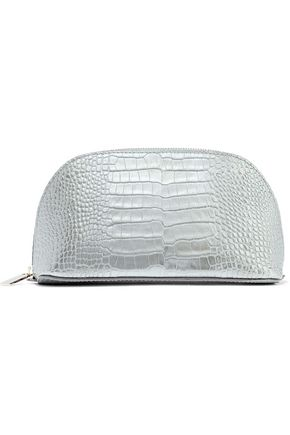 SMYTHSON Mara metallic croc-effect leather cosmetics case
