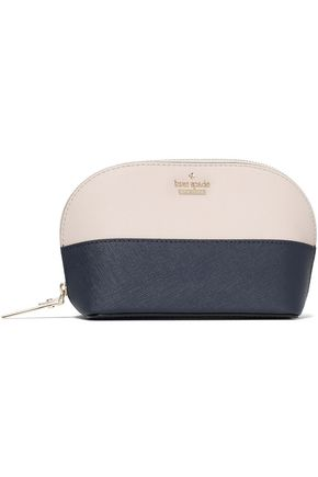 KATE SPADE New York Two-tone textured-leather cosmetics case