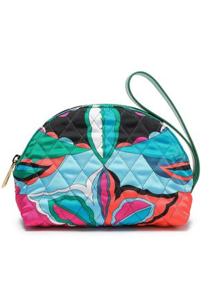 EMILIO PUCCI Leather-trimmed quilted printed twill cosmetics case
