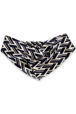 TORY BURCH Twisted printed silk-satin headband