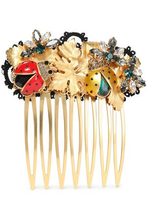 DOLCE & GABBANA Gold-tone, crystal and enamel hair clip