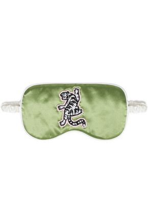 OLIVIA VON HALLE Embellished silk-satin eye mask