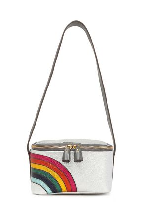 ANYA HINDMARCH Lunch Box metallic textured-leather shoulder bag
