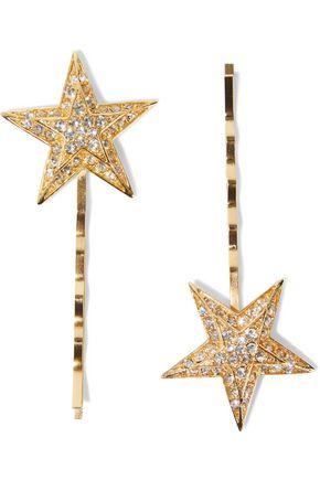 BEN-AMUN Set of two 24-karat gold-plated Swarovski crystal hair slides