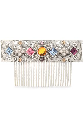 BEN-AMUN Silver-tone, faux pearl and crystal hair slide