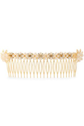 BEN-AMUN Gold-tone faux pearl and crystal hair slide