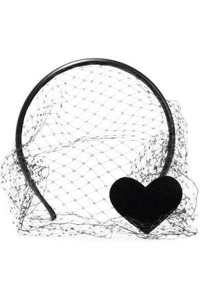 RED(V) Heart felt-appliquéd mesh and leather veil